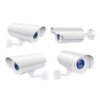 security camera set white cctv surveillance vector image