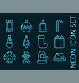 set christmas blue glowing neon icons vector image
