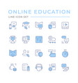 set color line icons online education vector image