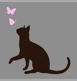 silhouette of a cat with butterflies vector image