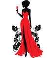 Silhouette of woman with wineglass vector | Price: 1 Credit (USD $1)