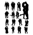 silhouette young couple vector image vector image