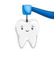 smiling tooth tooth drilled by vector image vector image