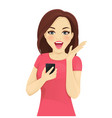 surprised woman with phone vector image