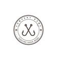 vintage crossed hook fishing sport club logo vector image vector image
