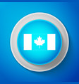 white canada flag icon isolated on blue background vector image vector image