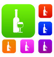 wine bottle and glass set collection vector image vector image