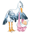 Stork with newborn baby isolated on white vector image