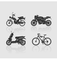 Set Silhouettes bikes vector image