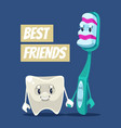 happy smiling clean tooth and brush characters vector image