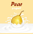 a splash of fruit pear yogurt vector image vector image