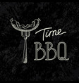 bbq time typographical inscription dark concept vector image vector image