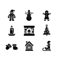 Black Christmas Icons on White Background vector image vector image