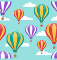 cartoon hot air balloons in blue sky vector image