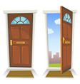 cartoon red door open and closed vector image