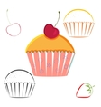 Cherry berry cupcake set vector image
