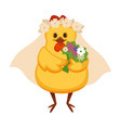 chicken in vail with wreath of chamomile and vector image vector image