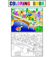 children color fairy city with river vector image vector image