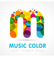 colored music m logo vector image vector image