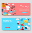 cooking utensils and food banners set vector image