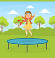 cute girl jumping on trampoline wearing retro vector image vector image