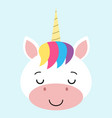 cute sleeping unicorn face cartoon vector image