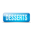 desserts blue square 3d realistic isolated web vector image vector image