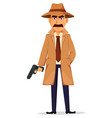 detective in hat and coat handsome character vector image vector image
