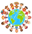 earth day nationalities funny cartoon character vector image