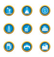extracting oil icons set flat style vector image
