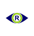 eye care solutions letter r vector image