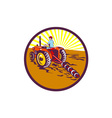 Farmer On Tractor Circle Retro vector image