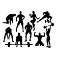 fitness and gym silhouettes vector image vector image