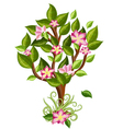 flower tree with glossy leaves vector image vector image