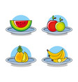 fresh healthy set of fruits vector image vector image