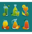 Fresh Juice And Fruits Icons Set vector image