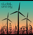 global wind day wind turbines against the vector image