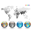 Globes on gray detailed map vector image vector image