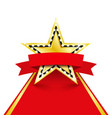 golden star with diamonds on red carpet vector image vector image