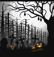 halloween night background with hanging bat vector image