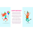 happy birthday greeting card redhead man and woman vector image vector image