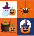 happy halloween card with set icons vector image vector image