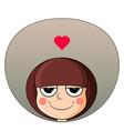 head cute girl with heart over head smug vector image