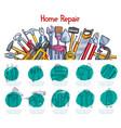 home repair sketch poster of work tools vector image vector image