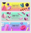 horizontal banners set with geometric 3d shapes vector image vector image