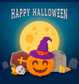 laughing pumpkin in witch hat vector image vector image