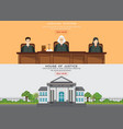 law horizontal banner set with judicial system vector image vector image