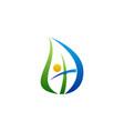 leaf religious cross logo symbol icon vector image