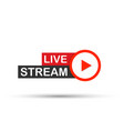 live stream flat logo - red design element with vector image vector image
