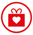 love gift rounded icon vector image